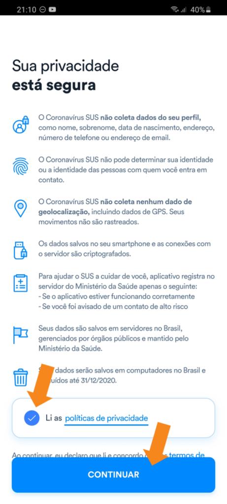 App coronavirus sus - 4 - informações de privacidade