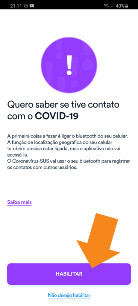 App Coronavirus SUS - 5 - Ativar Bluetooth
