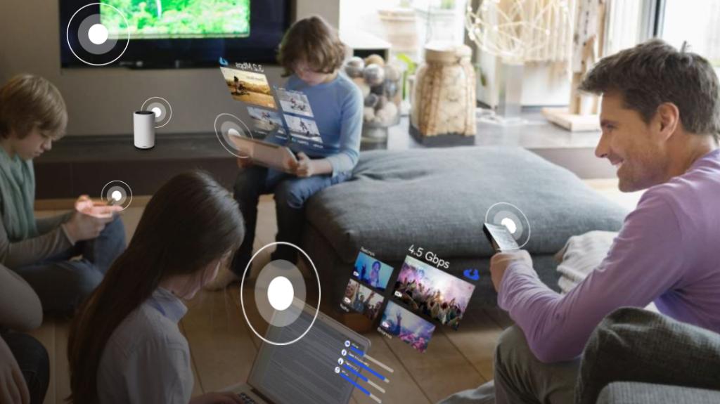 Família usando Wi-Fi 6