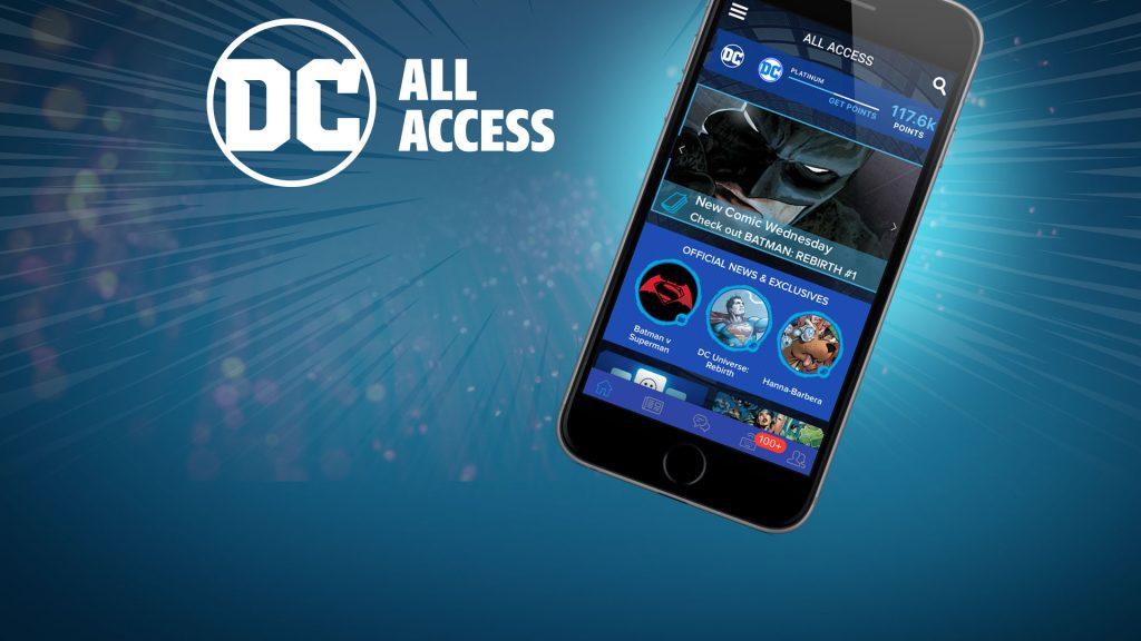 Plano de fundo azul com o logo da dc em cima e um celular à direita mostrando a interface de usuário do aplicativo dc universe, dando ênfase numa publicação nova do batman
