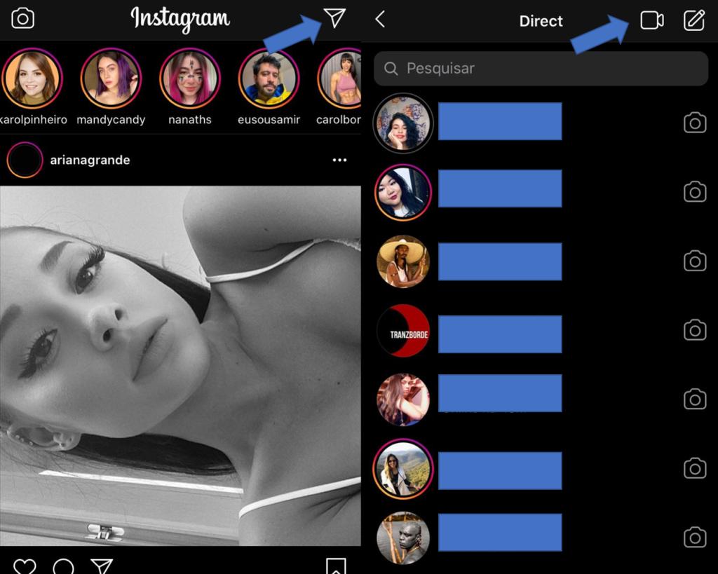 Canto superior direito no instagram inicia videochamada
