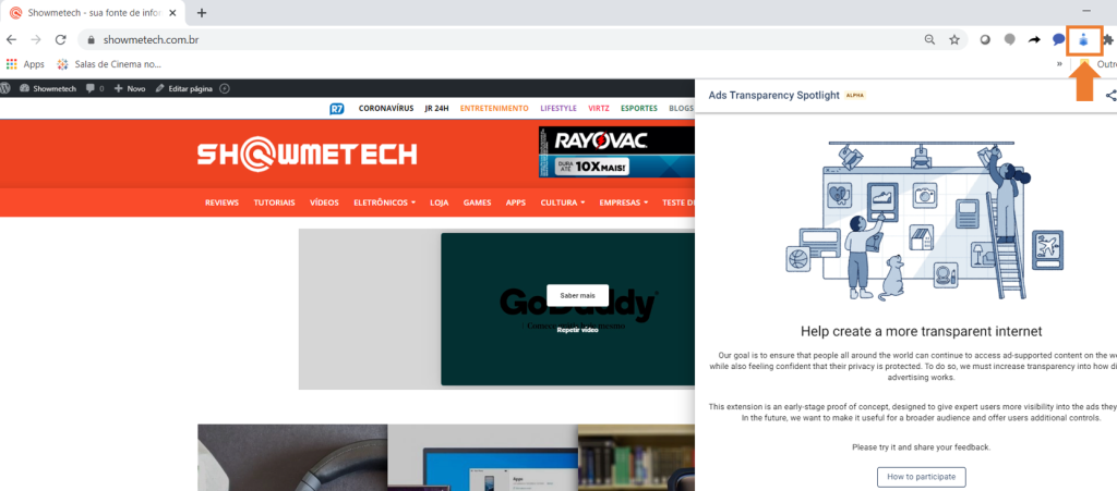 Página de site aberta, com seta em laranja indicando ícone da extensão para ativar visualização de informações sobre anúncios.