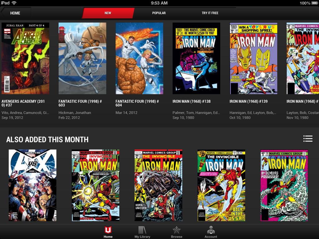 A imagem mostra como funciona a biblioteca do leitor de quadrinhos marvel unlimited no ipad, com duas linhas de títulos disponíveis, atalhos para a biblioteca, para procurar quadrinhos ou para o perfil do usuário