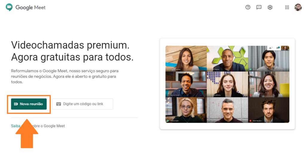 Google Meet: interface amigável e rápida, acessível com uma URL bem curta (Captura de Imagem: Rafael Arbulu/Showmetech)
