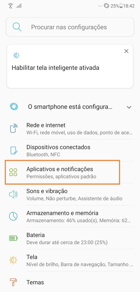 Menu geral de configurações em um smartphone Android, onde você encontra a gestão de dados por aplicativos (Captura de Imagem: Rafael Arbulu/Showmetech)