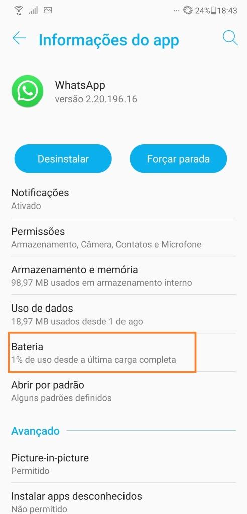 Exemplo de um menu de consumo de bateria do smartphone por app (Captura de Imagem: Rafael Arbulu/Showmetech)