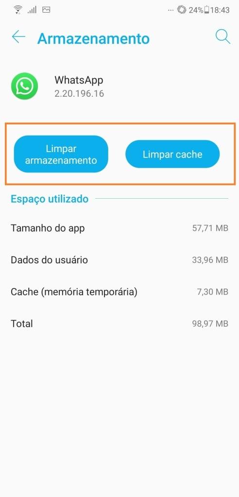 Dentro do menu de cada app, em um aparelho android, dá para apagar o cache ou o armazenamento completo do programa, onde você descobre como corrigir os problemas mais comuns do smartphone (captura de imagem: rafael arbulu/showmetech)