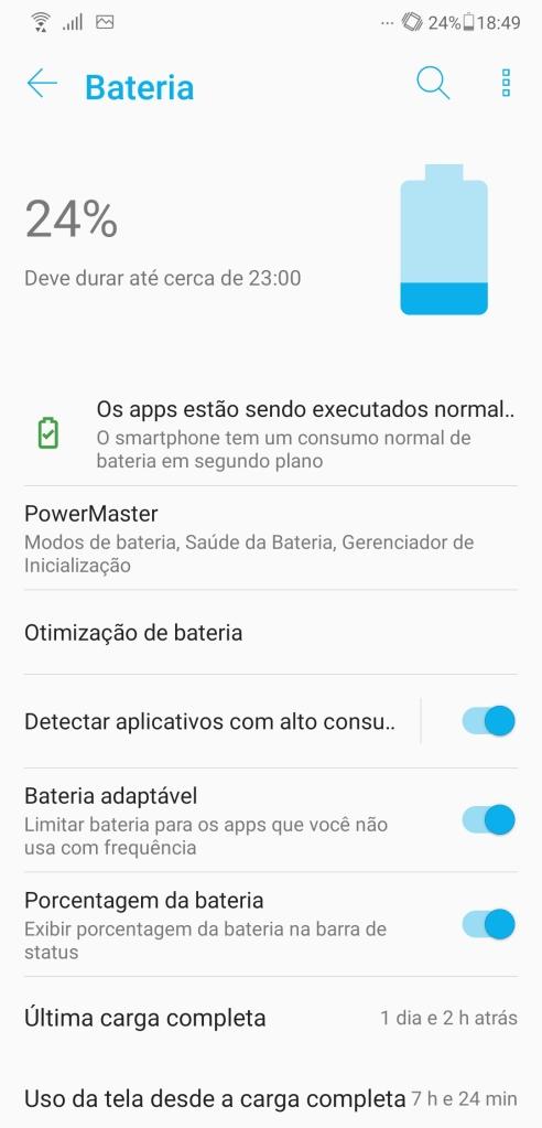 Quase todo smartphone também conta com um menu de gerenciamento da bateria (Captura de Imagem: Rafael Arbulu/Showmetech)