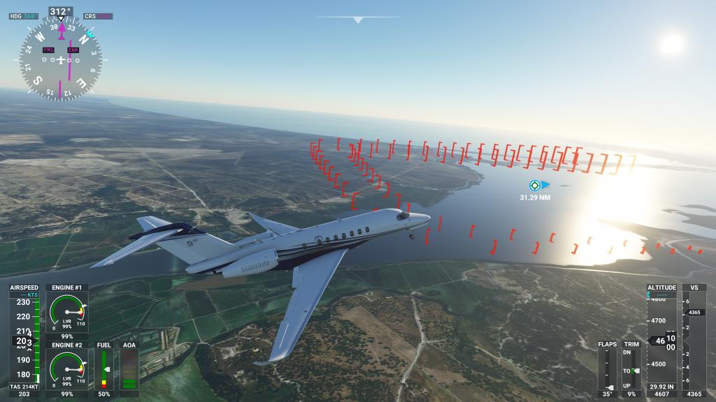 Assistência de pouso no Flight Simulator