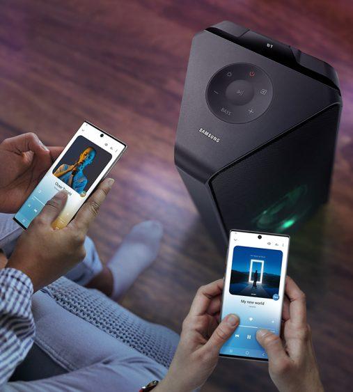 Samsung mx-t55: caixa acústica vertical da empresa sul-coreana se conecta a dois smartphones ao mesmo tempo (imagem; divulgação/samsung)