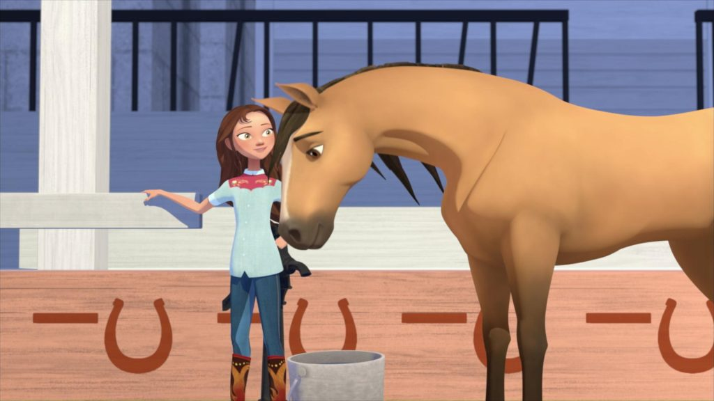 Cena da animação 'spirit - cavalgando livre: academia de equitação'