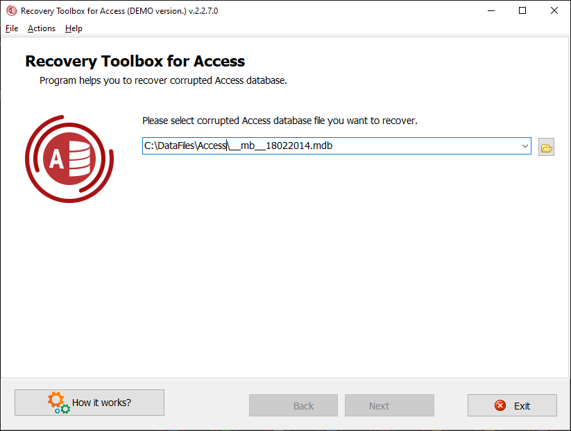 Recovery Toolbox for Access abrir arquivo