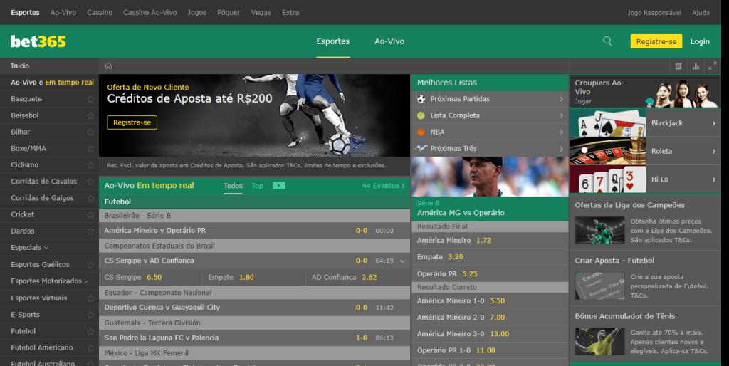 Home Page do Bet 365 Brazil: casa de apostas conta com suporte a mais de 30 esportes e suporte a pagamento via boleto e cartões de débito e crédito (Captura de Imagem: Rafael Arbulu/Showmetech)