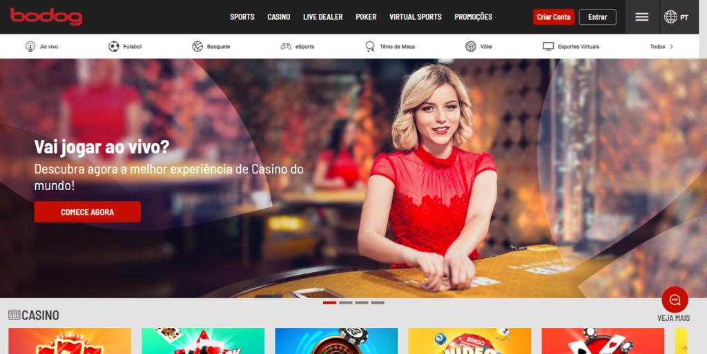 A Bodog é uma casa de apostas que mais parece um site de jogos em Flash, mas seu reconhecimento no mercado é ímpar, com a empresa tendo forte atuação no pôquer e esportes mais variados (Captura de Imagem: Rafael Arbulu/Showmetech)