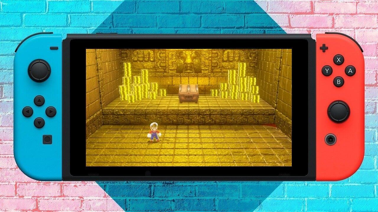 Imagem de capa: Mario e moedas douradas na tela do Nintendo Switch.