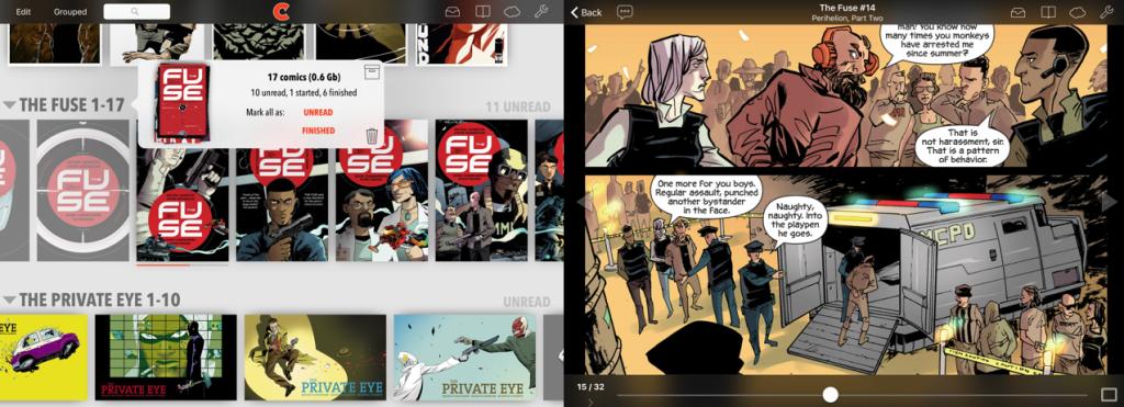 Visualização do aplicativo chunky comic reader e como os quadrinhos na biblioteca se parecem, com duas linhas de títulos e uma terceira com sugestões, enquanto que ao lado na mesma imagem há uma visualização de como o quadrinho em si fica durante a leitura