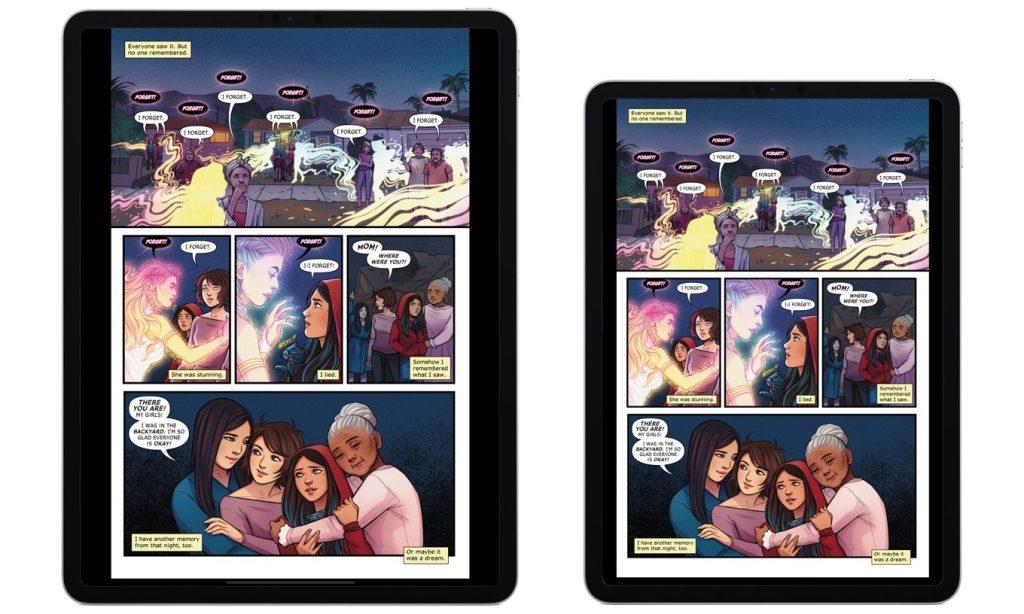 Imagem mostrando dois ipads, um de 12 polegadas e outro de 11, ambos com o aplicativo comixology rodando para ler quadrinhos em dispositivos online
