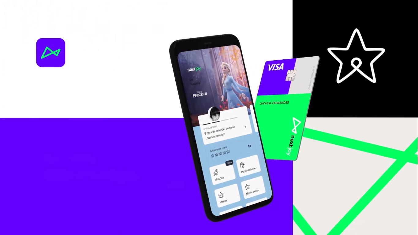 Imagem da interface e do cartão de débito do nextjoy