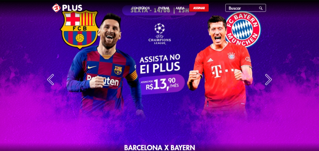 O ei plus é um serviço de streaming voltado para os fãs de futebol.