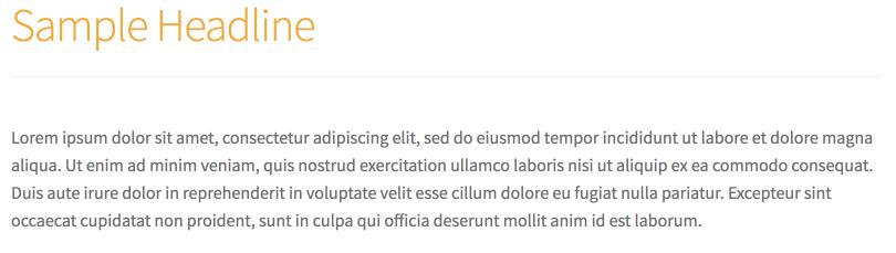 Mesmo texto em latim da imagem anterior, com a única diferença de que o título sample text foi transformado via css de cinza para laranja