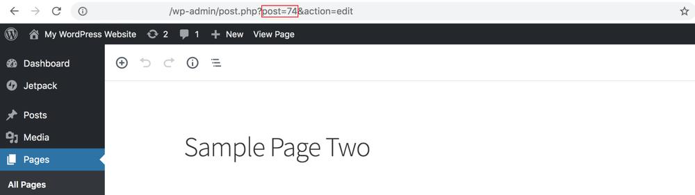 Captura de tela da página de edição do wordpress, dando ênfase para o link na parte superior. No link há um círculo vermelho em volta do número do post, 74, indicando o número da página.
