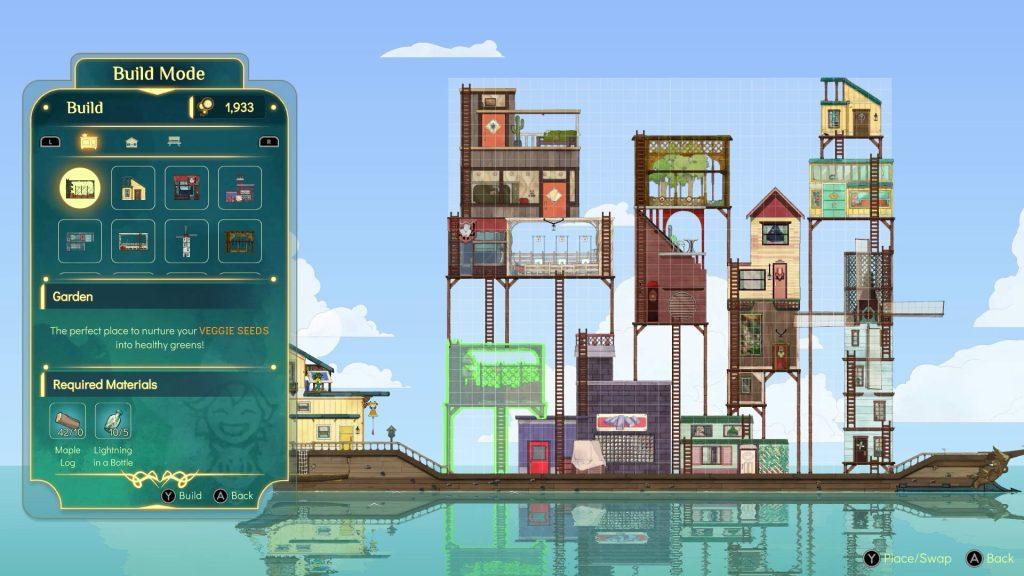 Construíndo estruturas no barco em Spiritfarer