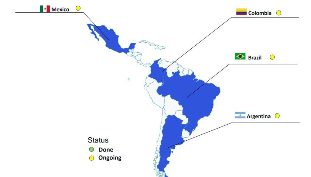 Mapa da América da Latina na pesquisa da Qualcomm