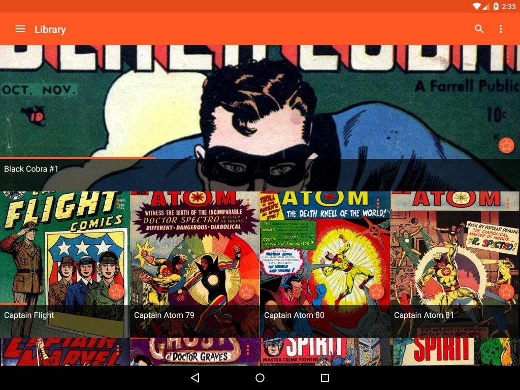 Interface de usuário do aplicativo para leitura de quadrinhos no celular ou tablet astonishing comics reader, mostrando a biblioteca com alguns títulos variados posicionados lado a lado