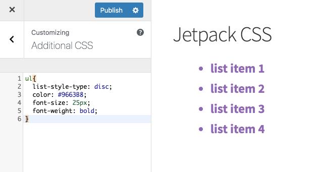 Modelo de edição de listas espelhado, do lado esquerdo o próprio painel em css do jetpack e do lado direito como tudo acaba por parecer, em roxo e em lista.