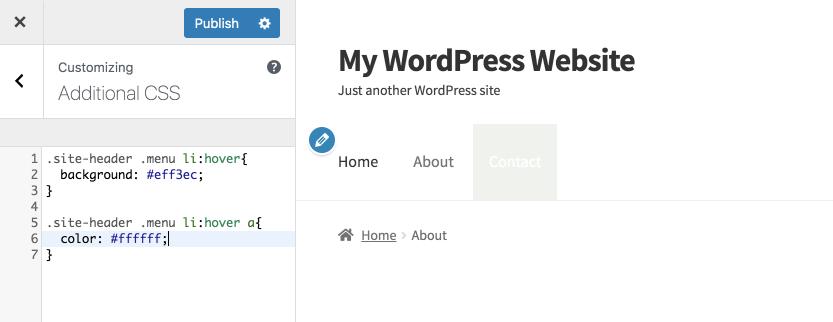 Exemplo de css alterando a barra de menu no próprio site do wordpress, adicionando um plano de fundo verde claro aos botões dessa mesma barra quando o usuário passa com o mouse por cima