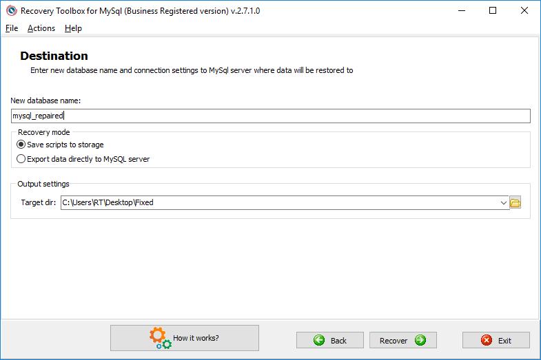 Imagem: captura/recovery toolbox for mysql