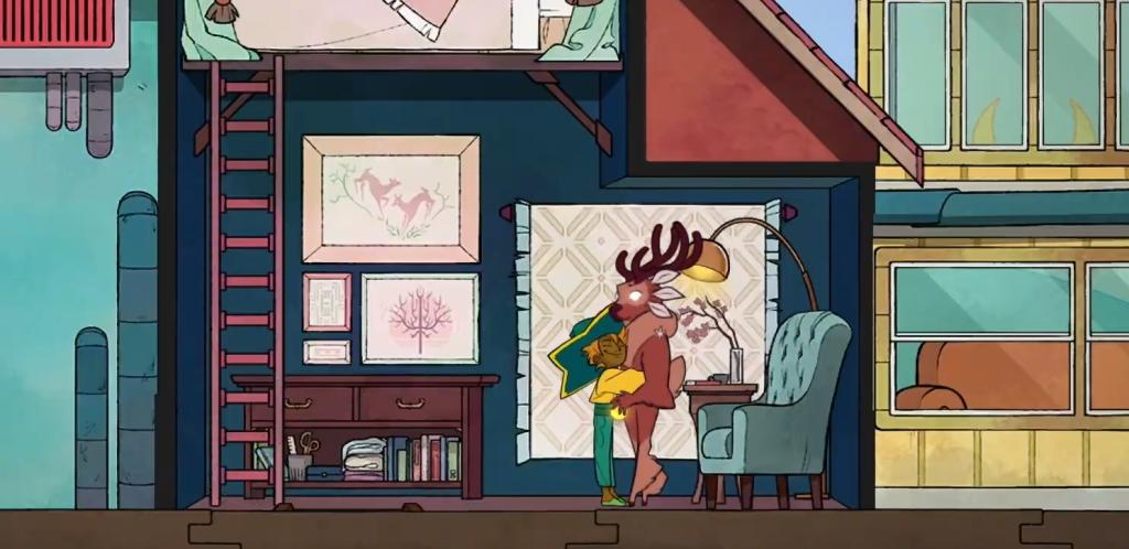 Stella abraçando um personagem