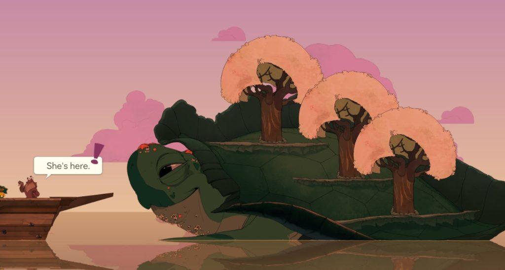 Uma tartaruga gigante no mar