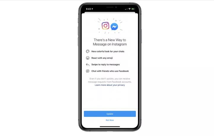 O facebook promoveu atualização no instagram, inaugurando integração entre as mensagens privadas da rede com o messenger (imagem: reprodução/the verge)