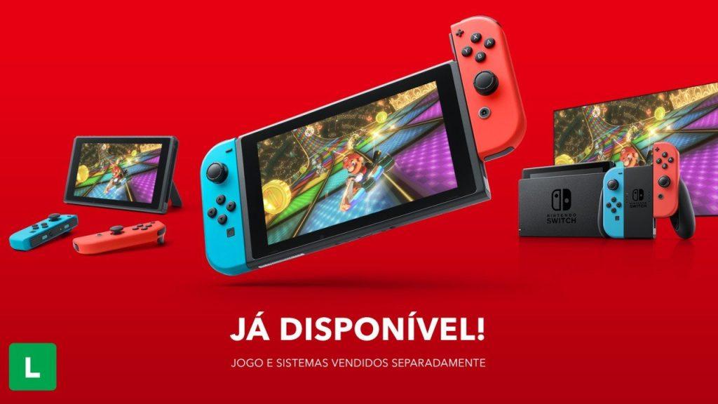 Em imagem, anúncio de nintendo switch no brasil