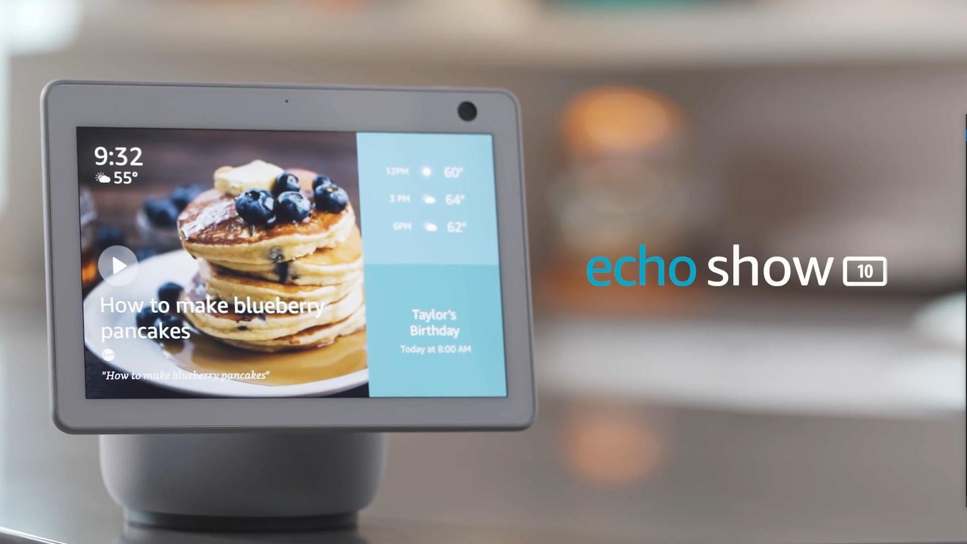 O novo echo show 10 da amazon é uma caixa de som inteligente giratória. O echo show 10 conta com diversas novidades e a funcionalidade de girar para acompanhar o rosto do usuário