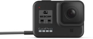 Câmera HERO8 Black indicando modo webcam em sua tela.