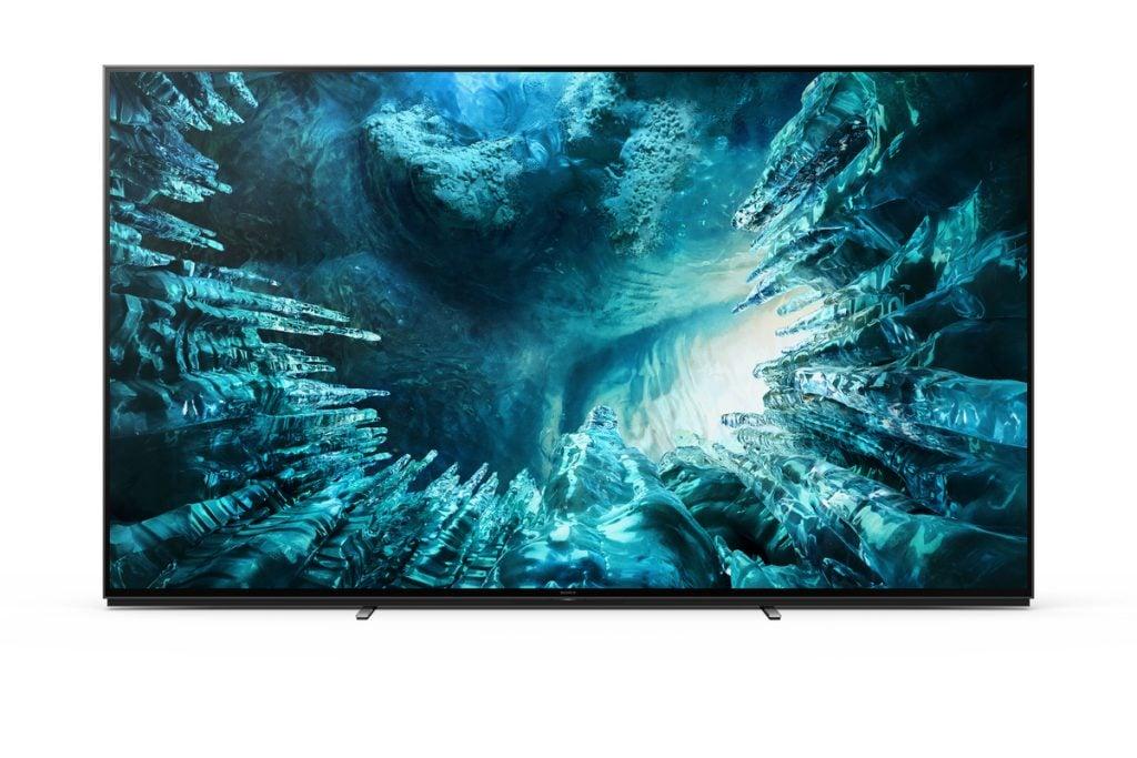 Design da tv 8k da sony, z8h, com estrutura ultrafina e bordas quase infinitas.