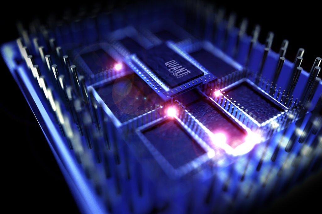Imagem de chip de computação quântica