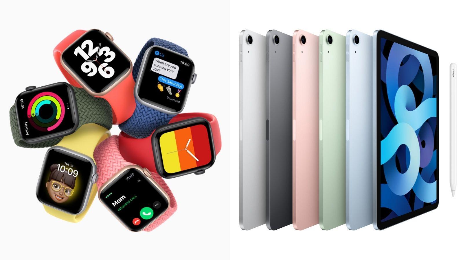 Imagem do watch series 6 da apple e do ipad air 2020