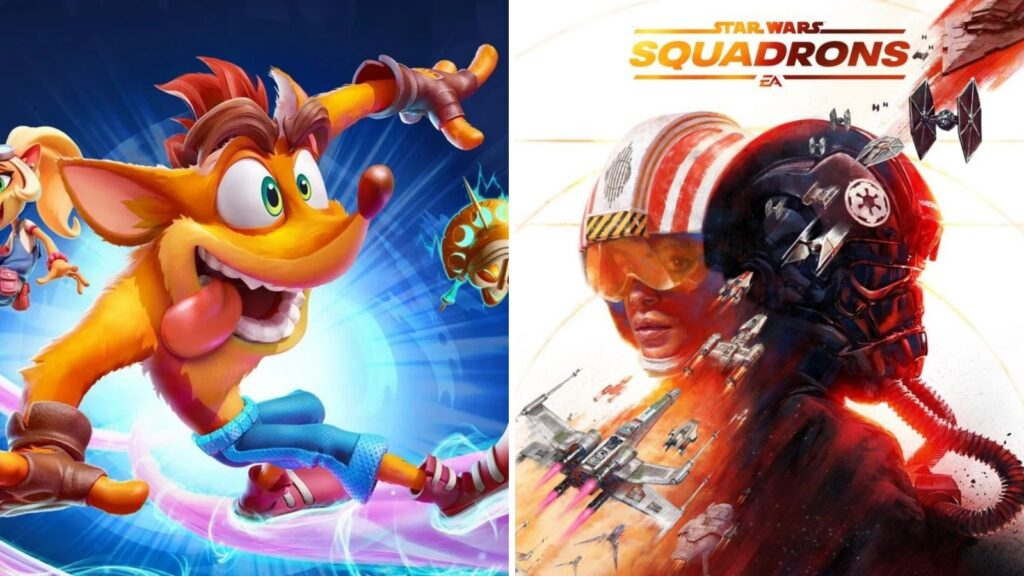 Montagem com imagens de crash 4 e star wars: squadrons que estão entre os games lançamento da semana