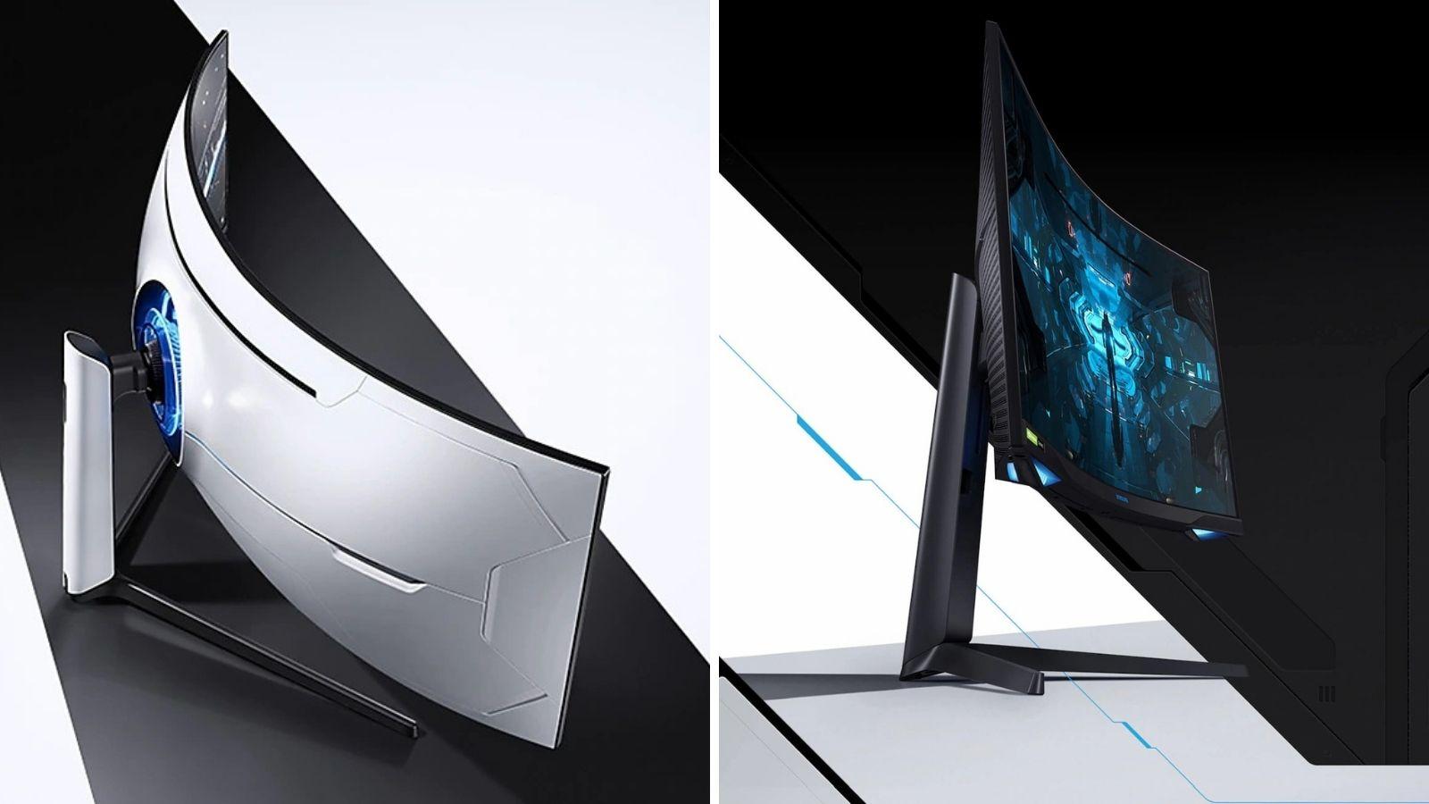 Montagem com dois novos monitores gamers da samsung