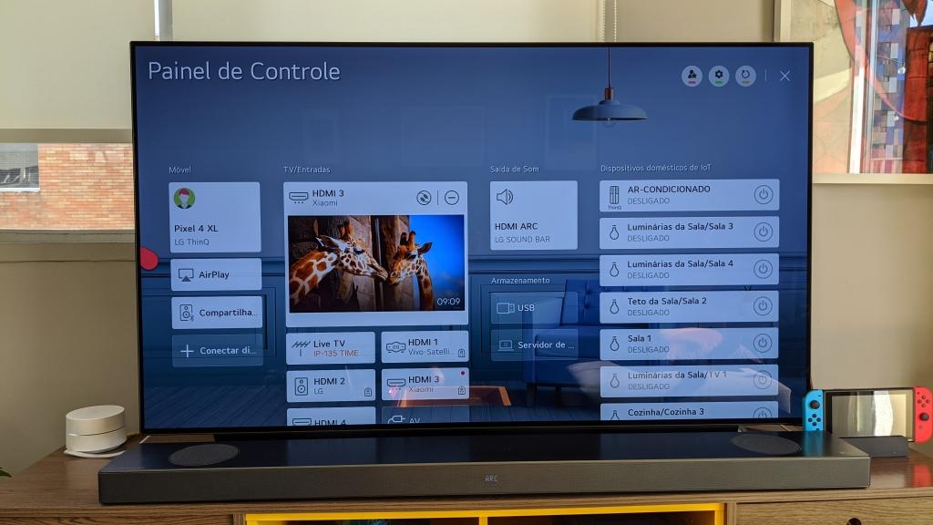 LG CX tv 4K OLED configurações, painel de controle