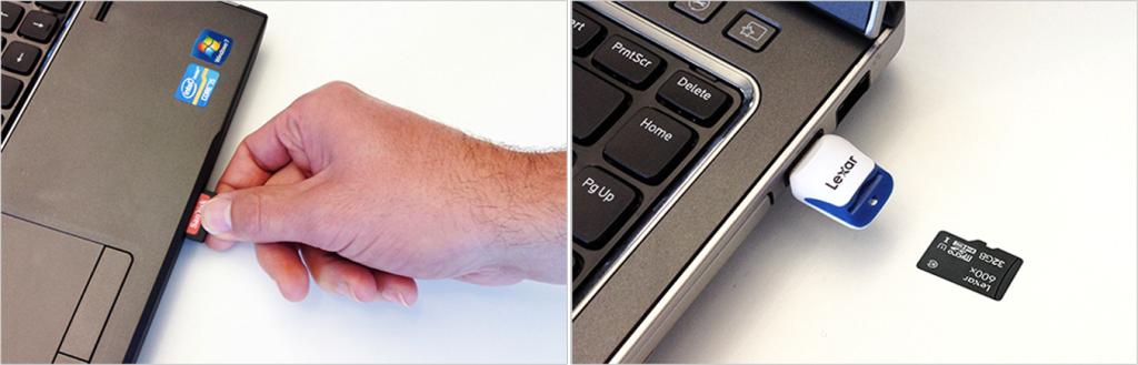 Imagem com computador indicando porta embutida para microSD ou adaptador para o cartão.