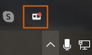 Captura da tela do programa com ícone em vermelho sinalizando que a webcam está transmitindo.
