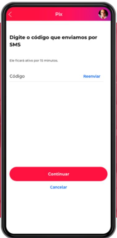 Tela para inserir código de verificação recebido