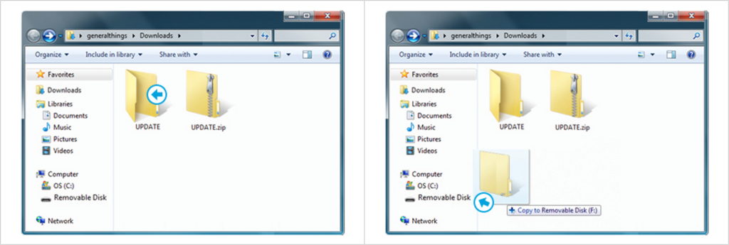 Captura da tela indicando transferência do arquivo para o microSD da câmera.