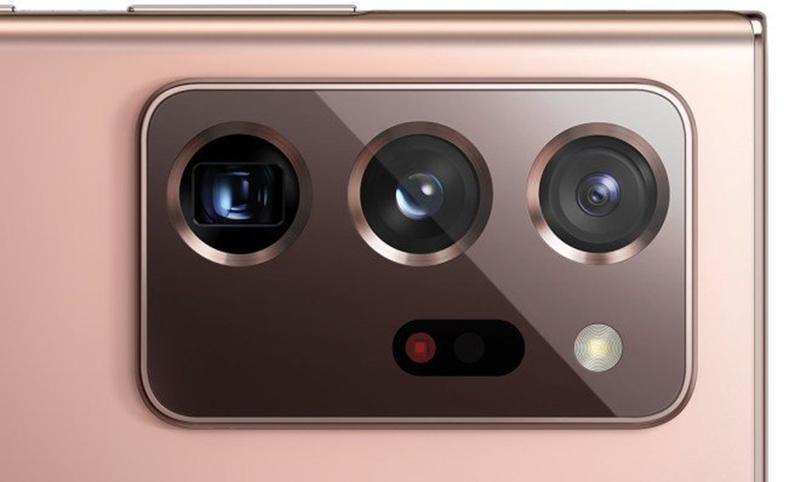 As três câmeras, o sensor a laser e o módulo de flash que compõem o módulo das câmeras do galaxy note 20 ultra