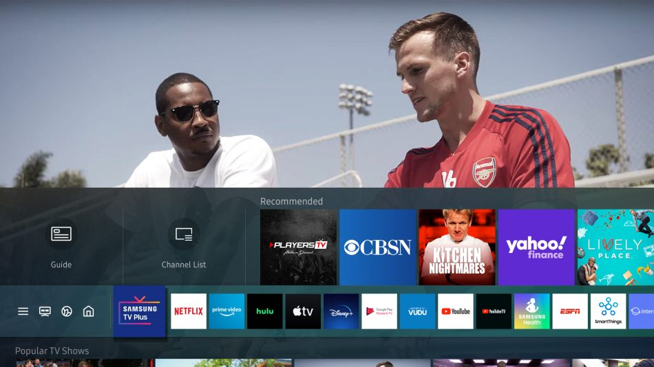Smart tv da samsung recomenda novos aplicativos