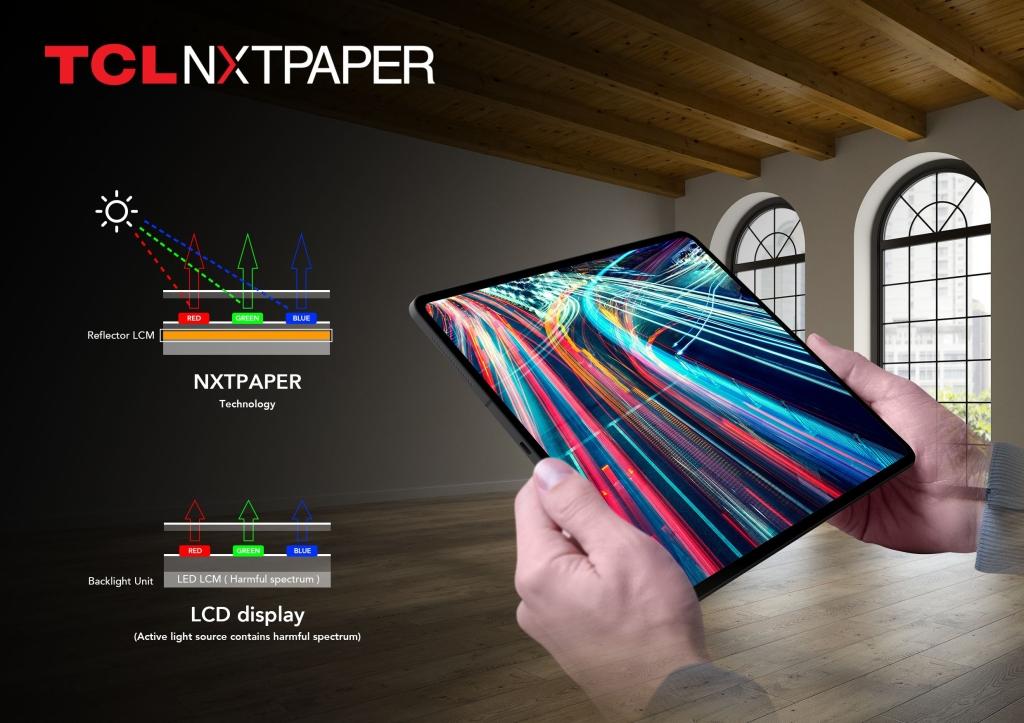 Nxt paper representado num tablet de muitas cores, segurado por um homem branco
